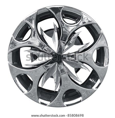 car alloy wheel, isolated over white background. (Save path for design work) - stock photo