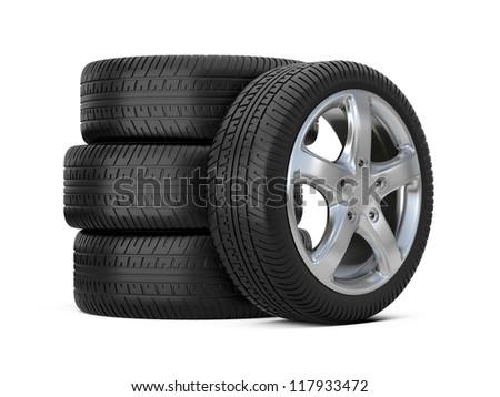 car alloy wheel, over white background - stock photo