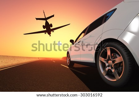Car and airplane on the road. - stock photo