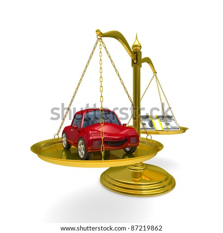 car and cashes on scales. Isolated 3D image - stock photo