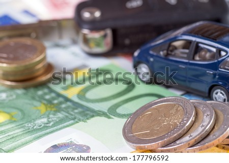 car and euro money with car key / Car and money