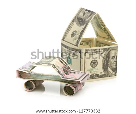 Car and  house made of Dollars - stock photo