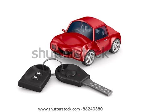car and key. Isolated 3D image