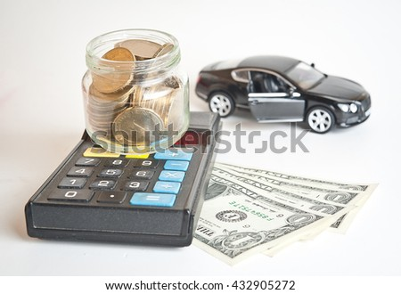 car and money. concept of car loan, Rent, car insurance, buy car Toy car and money over white. Car money and calculator. Payments and costs. - stock photo
