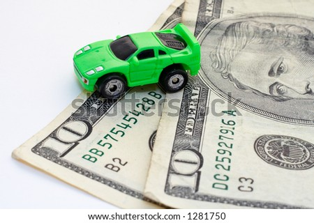 Car and money over white background - stock photo