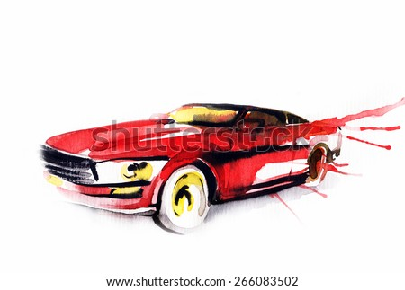 Car. Art sketch . Sport Car. Pencil drawing and watercolor.  - stock photo