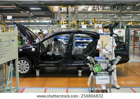 Car Assembly Plant in Chengdu, China - September 19, 2014. Chengdu economic growth. State-level economic and technological development zone of Chengdu. - stock photo