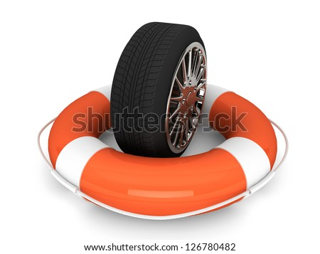 Car assistance concept. Lifebuoy with wheel tyre on a white background - stock photo
