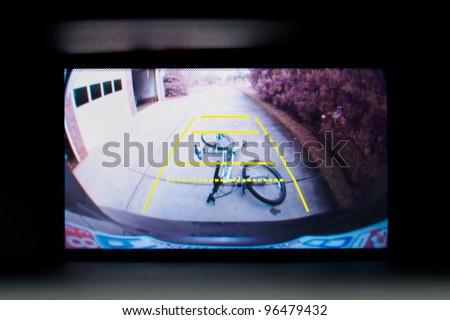 Car backup camera video display - stock photo
