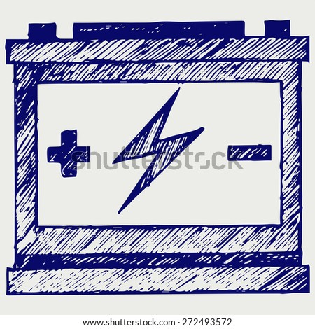 Car battery. Doodle style. Raster version - stock photo