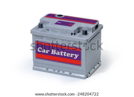 Car battery isolated on white background. - stock photo