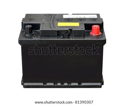 Car battery isolated on white background - stock photo