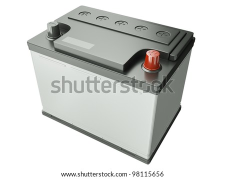 Car battery isolated on white background. 3D render - stock photo
