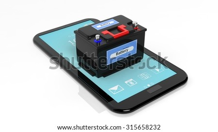 Car battery on tablet,isolated on white background