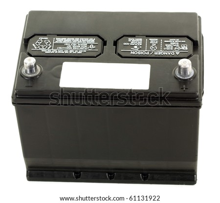 Car battery with empty label close up, studio isolated - stock photo
