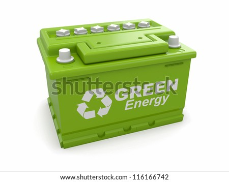 Car battery with green recycle sign. 3d - stock photo