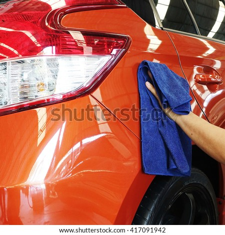Car body work auto repair paint after the accident technician work job manufacture  - stock photo