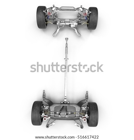 Car Chassis on white. Top view. 3D illustration