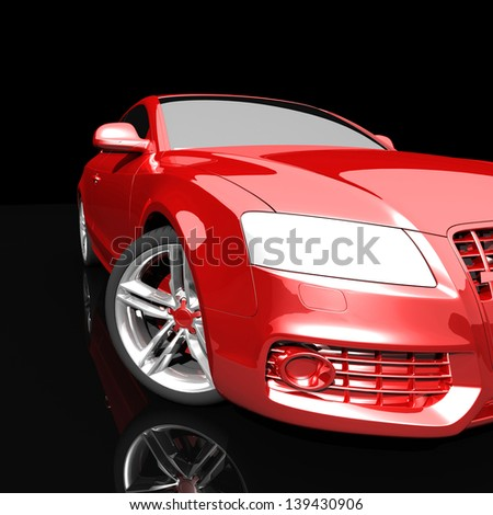 car color on a dark background. with shiny paint and lights on. design concept. 3d rendering modern car, front view - stock photo