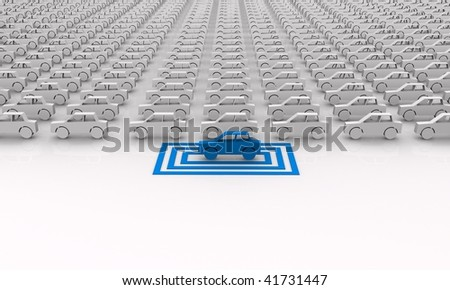 Car concept - blue car targeted in squares. - stock photo