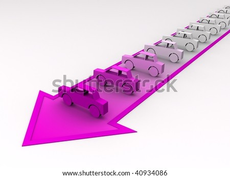 Car concept - cars painted to pink color on arrow. - stock photo