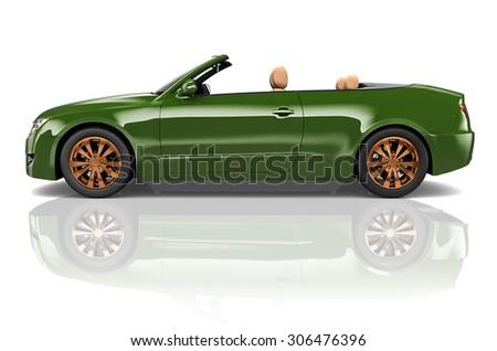 Car Convertible Transportation 3D Illustration Concept - stock photo