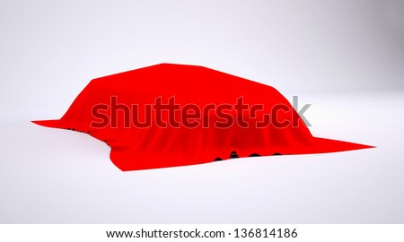 Car covered with red cloth. render studio - stock photo