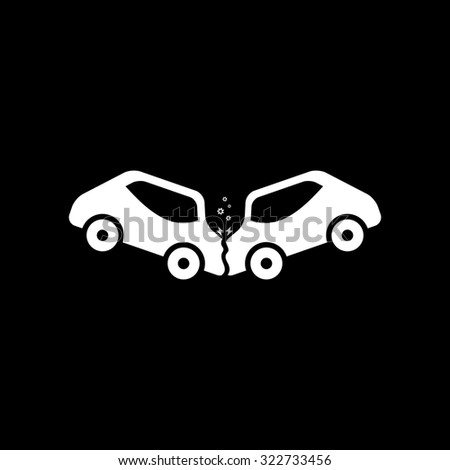 Car crash and accidents. Simple icon. Black and white. Flat illustration - stock photo