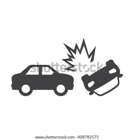 Car Crash Black Simple Icon On Stock Illustration 408782575 ...