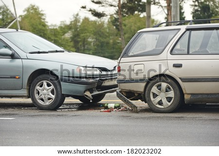 car crash collision accident on a city highway - stock photo