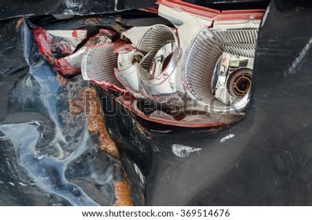 Car crash damage  may be broken - stock photo