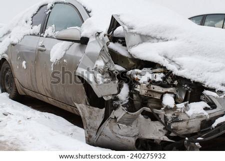 Car crash on winter road - stock photo