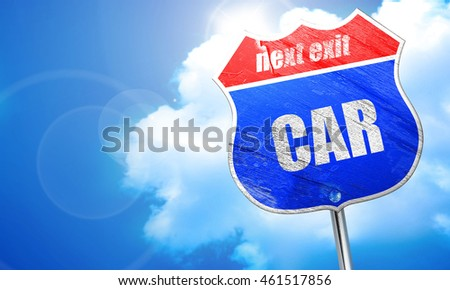 car, 3D rendering, blue street sign