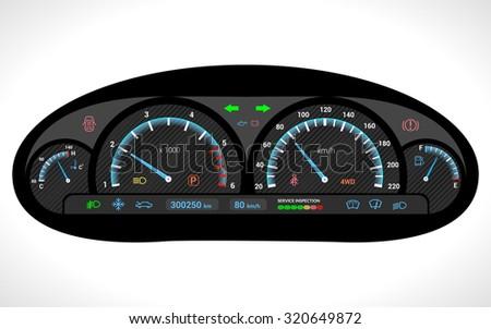 Car dashboard auto speedometer panel isolated on white background  illustration - stock photo