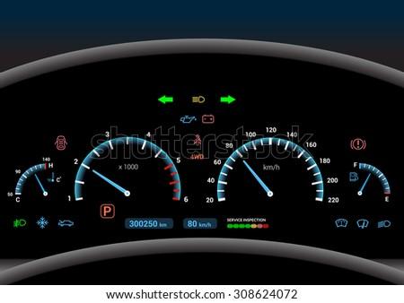 Car dashboard modern automobile control illuminated panel speed display  illustration - stock photo