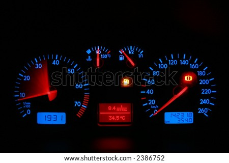car dashboard, red blue neon lights