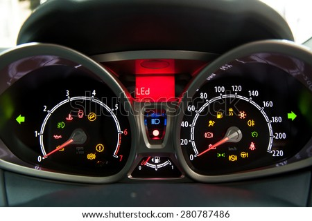 Car dashboard. show all led signs.