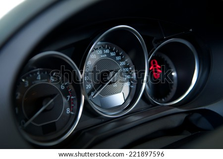 car dashboard, the interior - stock photo