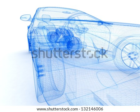 Car design background. 3D render. - stock photo