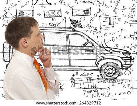 Car designer inventor. Photo compilation, photo and hand-drawing elements combined - stock photo