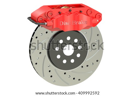 Car disc brake and caliper. 3D rendering isolated on white background - stock photo