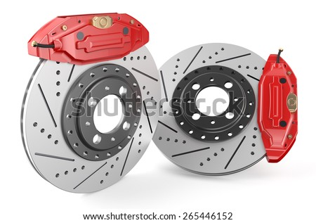 Car discs brake and caliper isolated on white background - stock photo