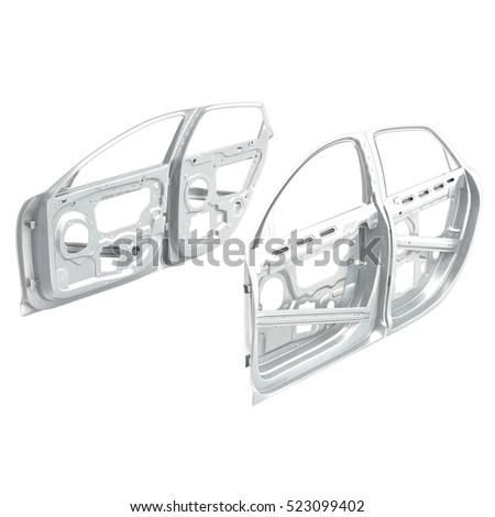 car door frames set on white 3d illustration