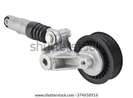 Car drive belt tensioner roller and pulley on a white background  for V-ribbed belt - stock photo