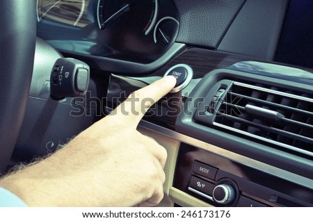 Car driver starting the engine  - stock photo