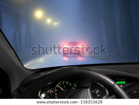 Car driving in a dark avenue in thick fog, seen through windscreen of other vehicle