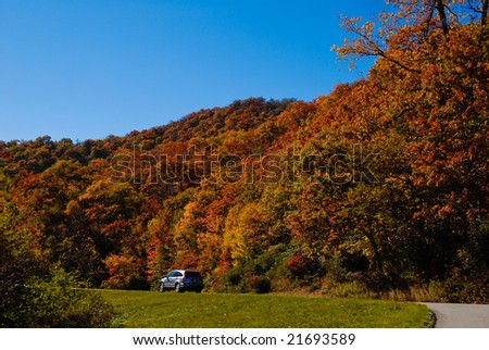 Car driving on the Blue Ridge Parkway - stock photo
