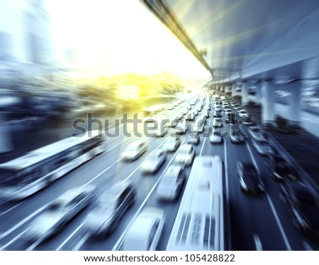 Car driving on the highway - stock photo