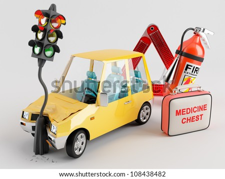 Car emergency kit that can be very useful in the crash occurred - stock photo