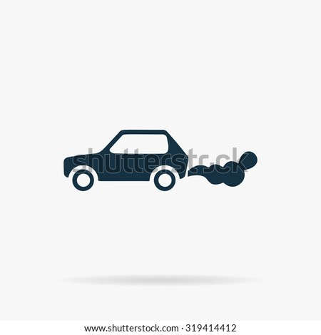 Car emits carbon dioxide. Flat web icon or sign on grey background with shadow. Collection modern trend concept design style illustration symbol - stock photo
